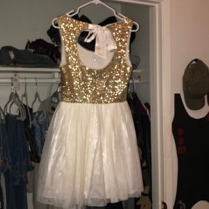 B Darlin Dresses - Gold and White prom dress